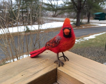 Needle Felted bird, Northern Male Cardinal #2