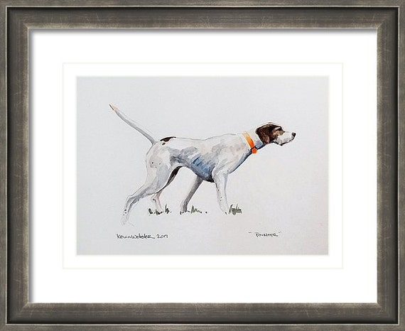 """POINTER - Original 6"""" x 8"""" Watercolor Painting, Mounted and Double Matted"""