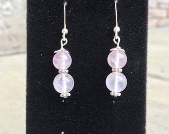 Vintage Rose Quartz and Sterling Silver Earrings