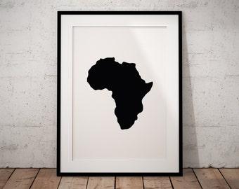 Africa Print, Printable African Safari Art Print, Africa Map, Printable African Art, Nursery Safari Decor, World Map Print, Minimalist Art