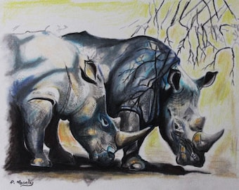 "6 x 6"" Greeting Card: Rhinos, signed by the artist, Phillip J Mosely.."