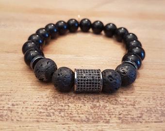 Mixed bracelet, Elegant-16, Onyx and lava.