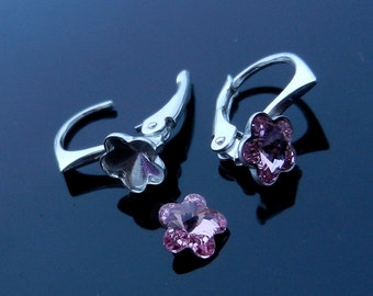 EXCLUSIVE Sterling Silver Lever Back earrings for Swarovski Crystals 4744 Flower 6mm