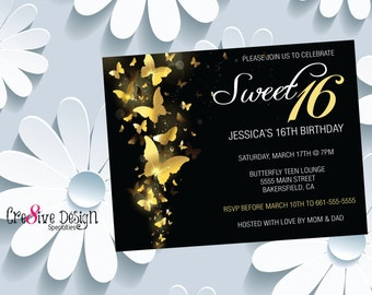 Sweet 16 Custom Printable Birthday Invitation, Gold & Black