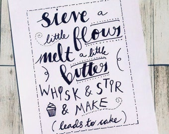 Calligraphy, lettering, hand drawn, kitchen baking print