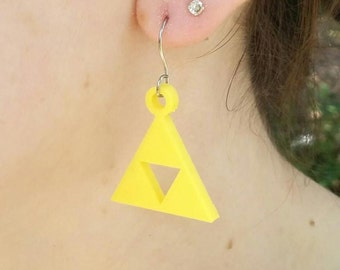 3D Zelda Triforce - print earrings