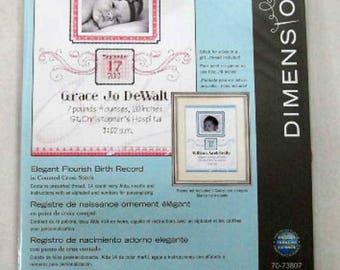 Cross Stitch Kit Elegant Birth Record Counted Cross Stitch Kit  Dimensions