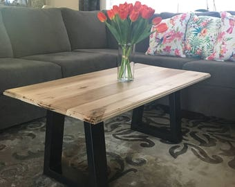 Maple Coffee Table with Black Metal Legs