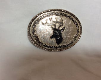 Brushed/Polished Chrome Deer Buck Belt Buckle