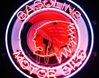 NEW Red Indian Motor Gas & Oil Neon SIGN Beer Light with Silkscreen Backing