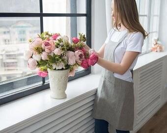 No-ties apron, Linen apron, Stripped linen apron, Fashionable apron