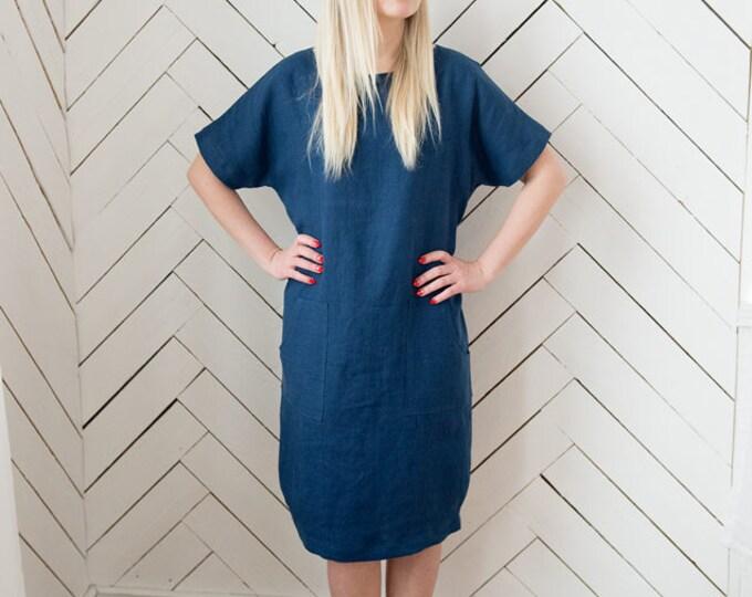 Blue linen dress, Dark blue linen dress, Boho dress, Tunic dress, Boho linen dress, Elegant linen dress, Womens dress, Dress, Linen dress