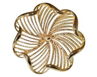 VINTAGE SPHINX - perforated rosette flower brooch