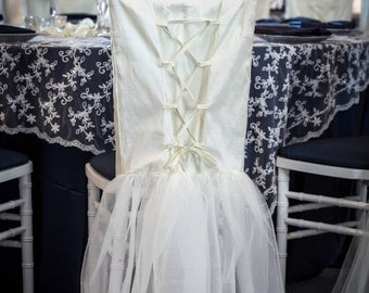Corset and Tulle Chair Cover