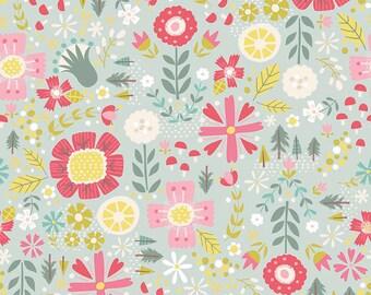 Teal Floral Fabric/ Woodland Fabric/ Riley Blake Goldilocks Fabric/ Riley Blake Fabric/Fabric by the Yard/ Baby Girl Fabric/ Floral Fabric