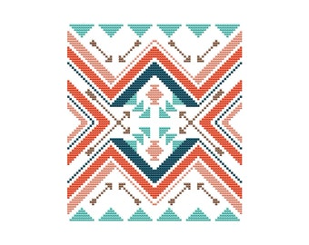 PDF cross stitch pattern, modern boho pattern, geometric cross stitch sampler Tribal Arrows teal and coral