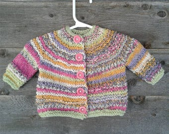 Hand Knitted Sweater Cardigan Girl Pink