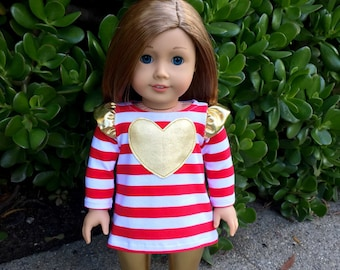 18 inch doll shirt with heart