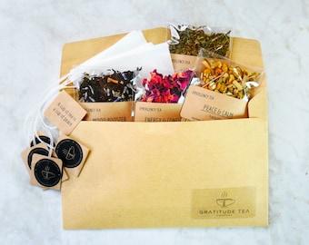 Tea Sampler Tea Gift Set 7 ORGANIC Loose Leaf Tea Samplers Tea lover Rose Tea Organic tea Get well gift tea sampler gift ORGANIC TEA loose