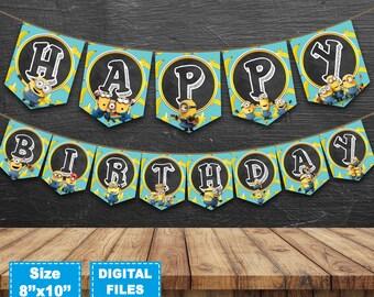 Minions banner, minions birthday banner, despicable me banner, minions birthday party, minion supplies, minion instant download,minion decor