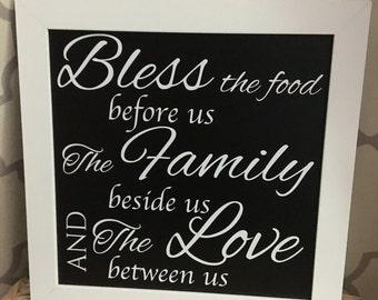 Chalkboard Family Dinner Blessing Sign