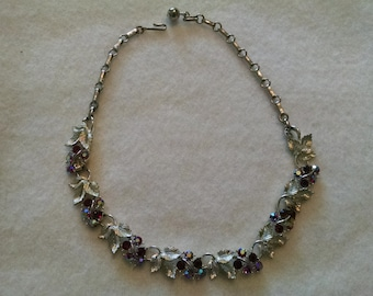 Vintage choker necklace  with red rhinestones