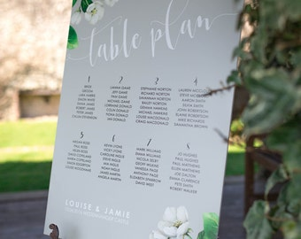 Wedding table plan - Botanicals design, personalised with your details and your guest names