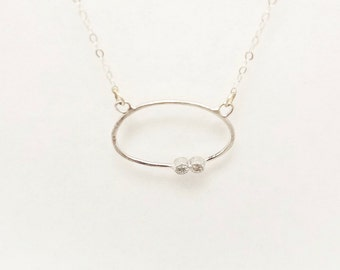 14 Karat White Gold Delicate Necklace With Two Diamonds