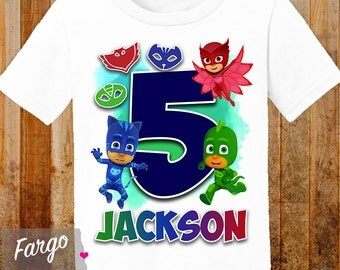 Boy's Personalized PJ Masks Birthday Shirt - PJ Masks Birthday T-shirt - 3rd 4th 5th Birthday Custom Kids Birthday Shirt
