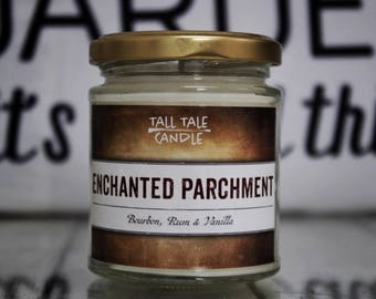 Enchanted Parchment  |  Harry Potter inspired Candle  |  Book Lovers, Book Inspired Candle, Literary Gift, Bookworms, Bookish Candle