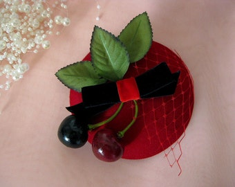 Cute rockabilly fascinator hat cherries red black pin up retro vintage netting bow