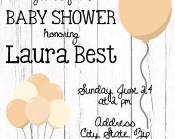Neutral Baby Shower Invitation, Shabby Chic Baby Shower, Barnwood Shower Invite