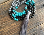 Stress Reduction Mala - Turquoise, Jasper, High Quality Authentic Stones and Crystals, Traditional 108 Bead Meditation Prayer Mala Beads
