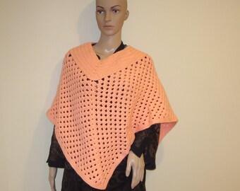 dark orange crochet poncko