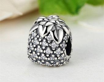 Authentic Sterling Silver charm Beads pave pineapple Beads with Cubic Zirconia Charm Fits European & Pandora Charm Bracelet