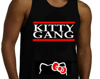 Kitty Gang/ Mens Hello Kitty Tank Top/ Hello Kitty Custom Wear