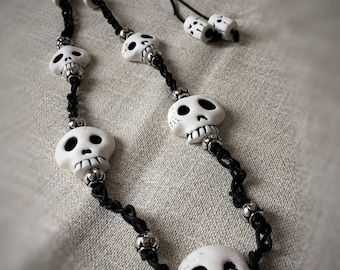 Necklace with skulls in polymer clay