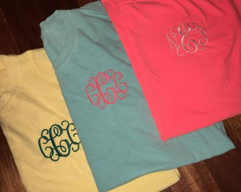 Comfort Colors T shirts monogrammed- embroidered tshirts for women and men- personalized- variety of colors offered