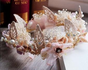 SALE 20% OFF- Continental Baroque Shell Simulation Flower Bridal Rhinestone Tiara Wreath// Prom headpiece