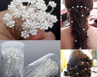 10 pcs Bridal Wedding Crystal Pearl Flower Bridal Hairpins Bridesmaid Hair Clips Women Hair Accessories