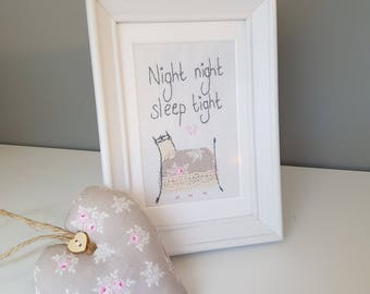 Handstitched framed bedtime quote