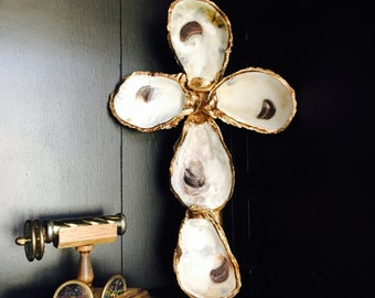 Free Shipping- Gold Leafed Oyster Cross