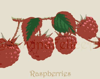 """Digital fine art print from my original painted with airbrush technique """"raspberries"""" drawing, painting, art, raspberries, wild, illustration"""