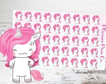 Suki the Unicorn // Planner Stickers // Unicorn Planner Stickers // Mad // Bad Day // Bad Mood