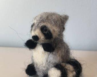 Needle felted, wool, Waldorf raccoon - toy - gift - decoration