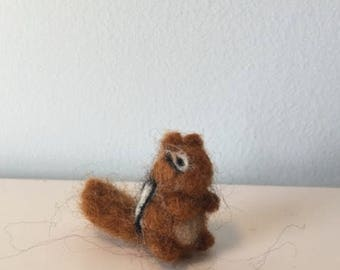 Adorable needle felted, natural wool, Waldorf chipmunk - toy - decoration - gift
