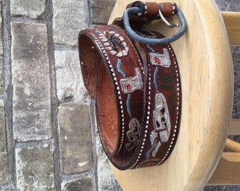 Vintage Leather Belt with Painted Cowboy Pattern
