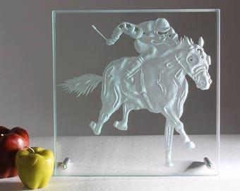 Ce modern glass decor handmade horse box
