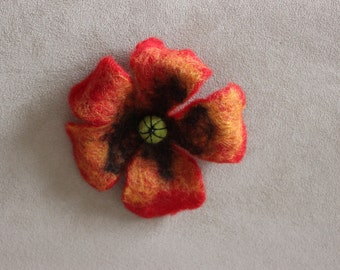 multicolor felt flower brooch, wool jewelry, accessories, wool, gifts for her