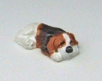 Dolls House Miniature Sleepy Puppy Dog